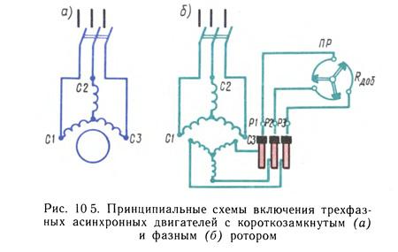 схема кключения синхронного и ахинхронного двигателя трехфазного в сеть