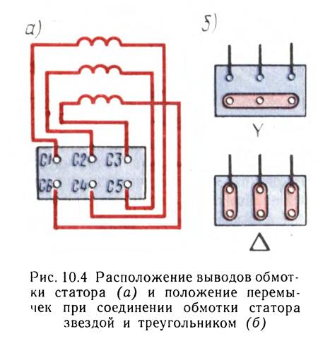 соединение клемм асинхронного двигателя
