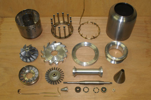 части мини турбореактивного двигателя